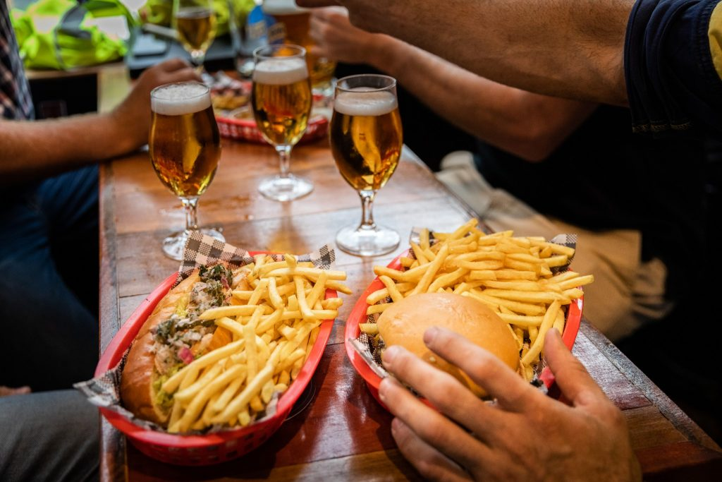 Fries and Hot Dogs at Fat Angel