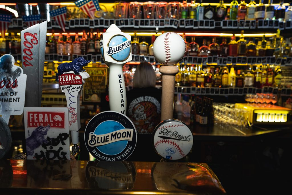 beer taps at fat angel sports bar